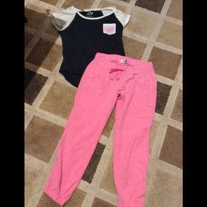 Pink sweats and a comfy t-shirt